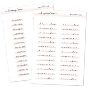 Remember Highlight Script Stickers