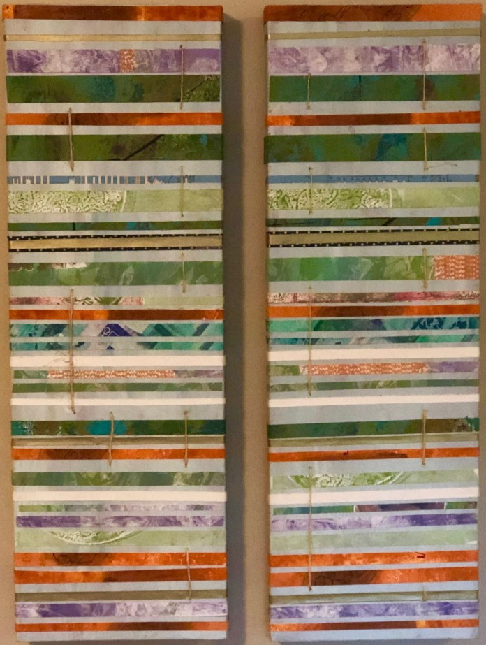 "Contributed PhotoJoAnn Lieberman's Sedimentary, my dear Watson, an 8"" x 24 and 8"" x 24"" diptych monoprint and acrylic painting"