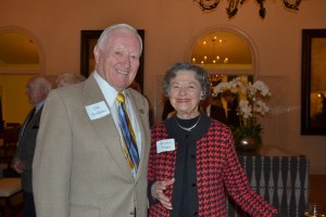 (Sally Hogarty, Photographer)Beatrice Heggie (R) congratulates Dick Burkhalter on his Volunteer of the Year Award presented by The Orinda Association in 2014. Dick passed away April 5, 2021.