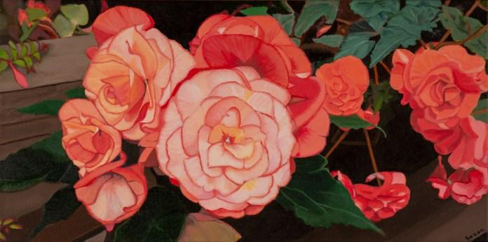 "Suzun Almquist, ""Apricot and Scarlet Begonias"""