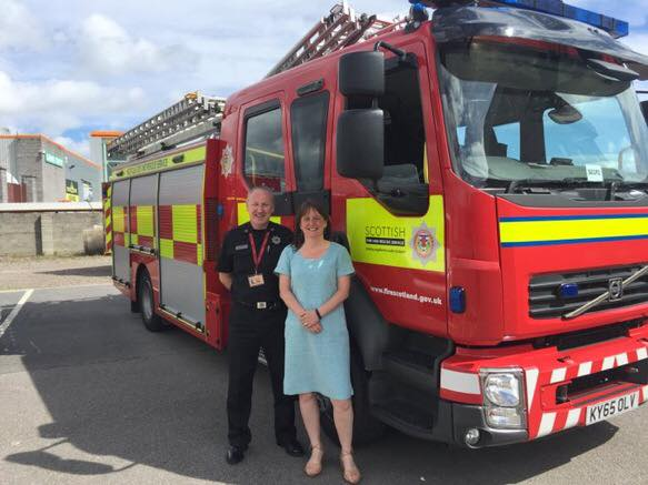 Highland Area Fire and Rescue HQ - Maree Todd MSP and Senior Officer John Macdonald