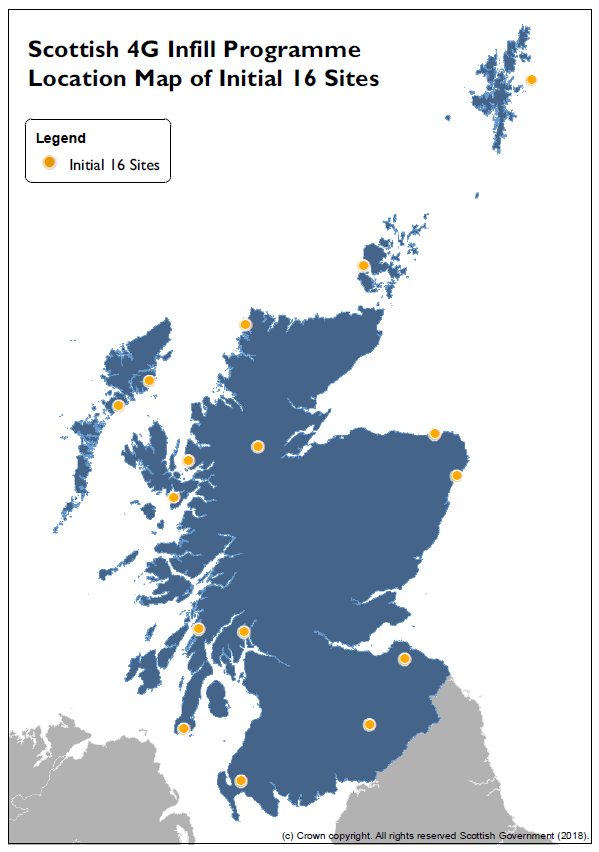 Map of initial 4G Infill sites