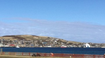 view to Stromness from Point of Ness camp site