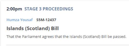 Islands Bill stage 3
