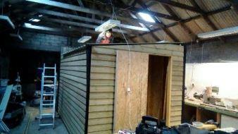 Tim stitching the roof