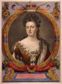 Queen Anne a tinted engraving from an atlas commissioned by Augustus the Strong (Duke of Saxony), 1706-1710.