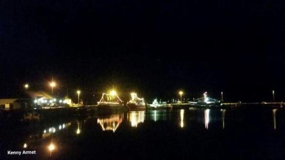 Kirkwall marina at winter's night