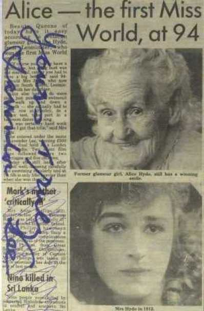 alice lavender lee newspaper cutting