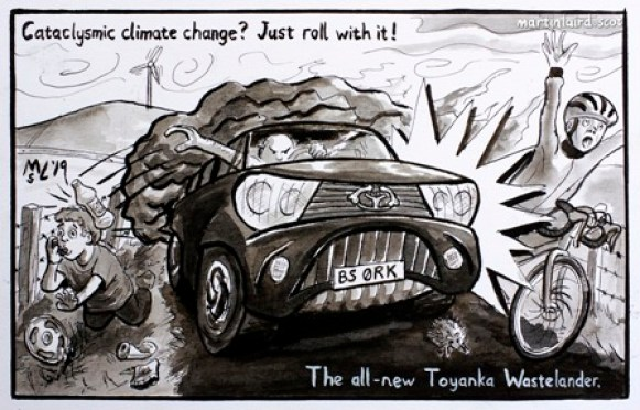 iScot Orkney News cartoon Toyanka Wastelander Martin Laird
