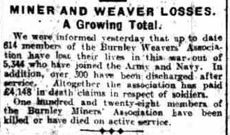 Miner and weaver losses world war 1 Burnley Tom Howarth