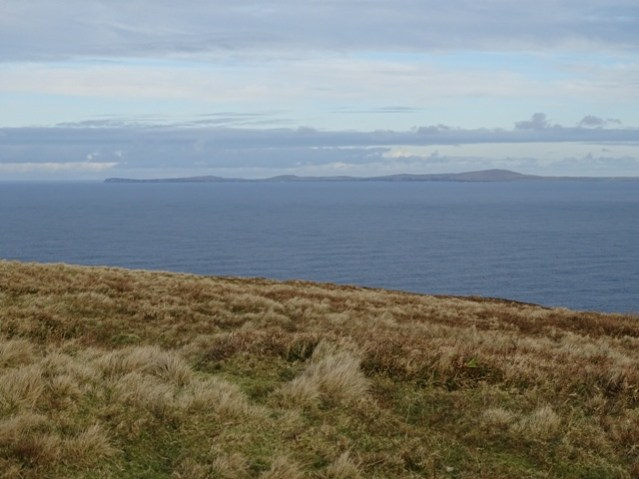 view from Swannay over to Westray Bell