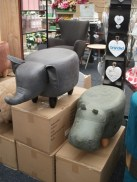 Wellpark Garden Centre hippo and elephant stools Bell