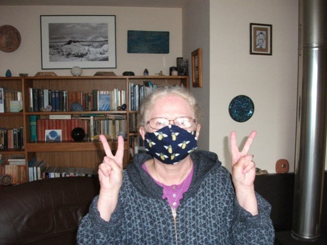 Bernie Bell with face mask on
