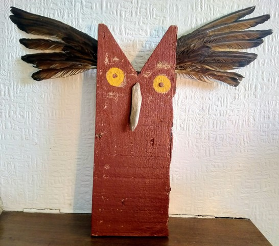 Owl made from beach found wood credit:  Annie Getchell