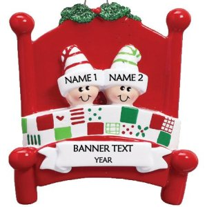 Bed Heads Family 2 Personalised Christmas Ornament