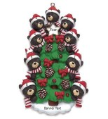 Bear Tree Family 9 Personalised Christmas Ornament