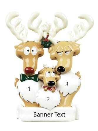 Reindeer Family 3 Personalised Christmas Ornament