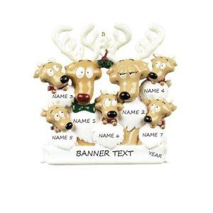 Reindeer Family 7 Personalised Christmas Ornament