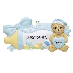 Blue Baby Bottle W/Bear 1st Christmas Personalised Christmas Ornament