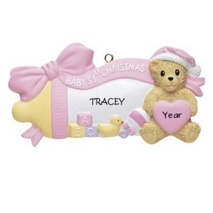 Pink Baby Bottle W/Bear1st Christmas Personalised Christmas Ornament