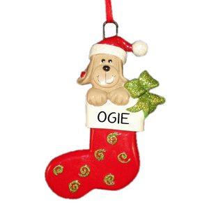 Dog Stocking Personalised Christmas Ornament