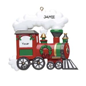 Glittered Christmas Train Personalised Christmas Ornament