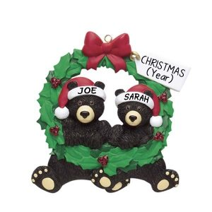 Black Bears Wreath (2) Personalised Christmas Ornament