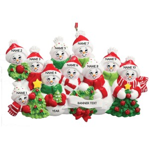 Snow Family 10 Personalised Christmas Ornament