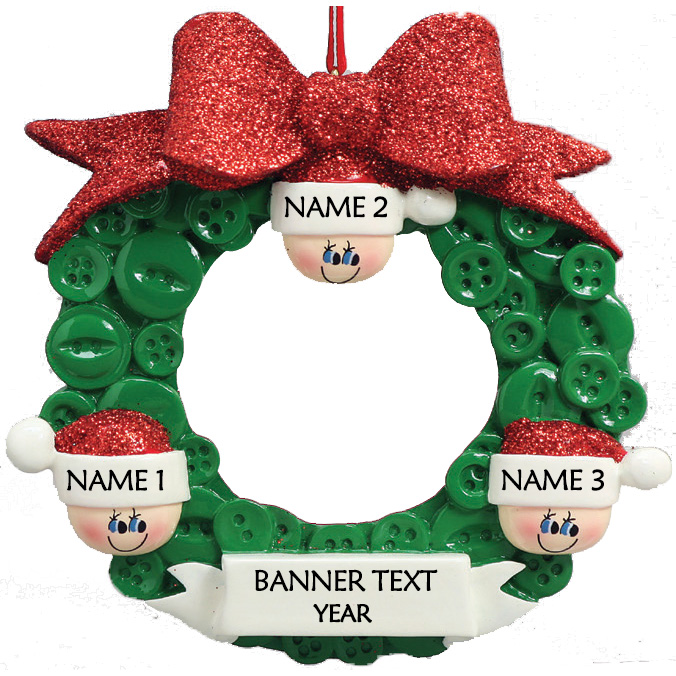Button Wreath 3 Personalised Christmas Ornament 1
