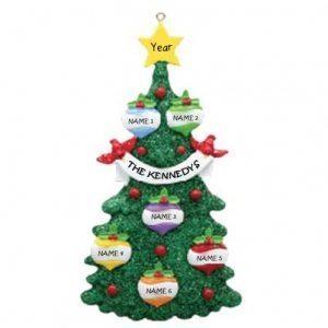 Green Glitter Tree 6 Personalised Christmas Ornament 1
