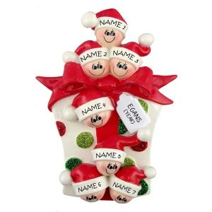Glitter Gift Family 7 Personalised Christmas Ornament 1