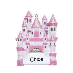 Fairytale Castle Pink Personalised Christmas Ornament