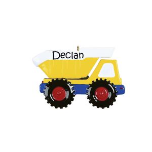Yellow Dump Truck Personalised Christmas Ornament