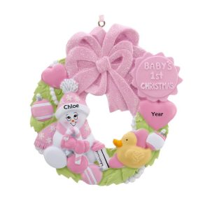 Baby's 1st Christmas Pink Wreath Personalised Christmas Ornament