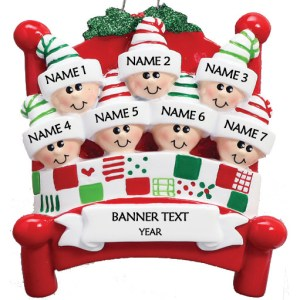 Bed Heads Family 7 Personalised Christmas Ornament