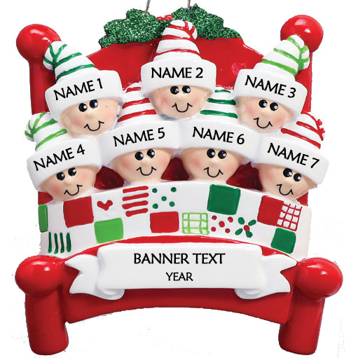 Bed Heads Family 7 Personalised Christmas Ornament 1