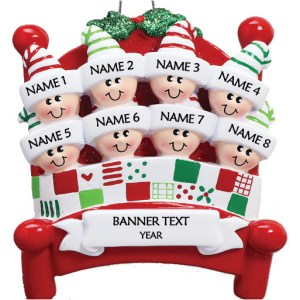 Bed Heads Family 8 Personalised Christmas Ornament