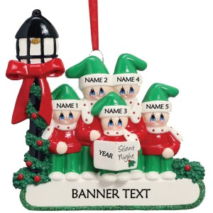 Carollers Singing Silent Night Family 5 Personalised Christmas Ornament
