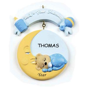 Baby Moon Boy Personalised Christmas Ornament