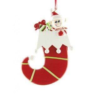 Elf in Stocking Personalised Christmas Ornament