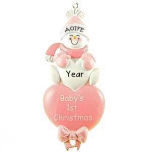 Baby's 1st Christmas Pink Heart Personalised Christmas Ornament