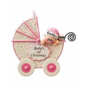 Baby In Pram Baby's 1st Christmas Pink Personalised Christmas Ornament