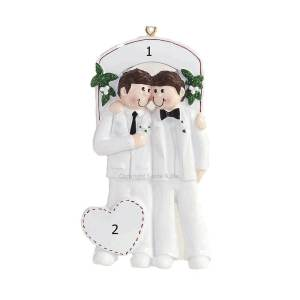Male Wedding Couple Personalised Christmas Ornament