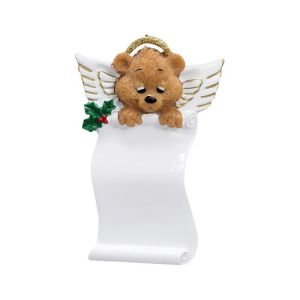 Angel bear scroll personalised Christmas ornament