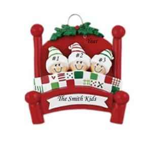 Bed heads Family 3 Personalised Christmas ornament
