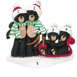 Black Bears On Sled Family 4 Personalised Christmas Ornament