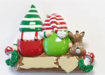 Idle Gnomes – 2 personalised Christmas Ornament