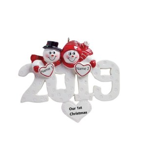 2019 Snow Couple Personalised Christmas Ornament
