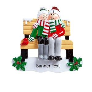 Park Bench Family 2 Personalised Christmas Ornament