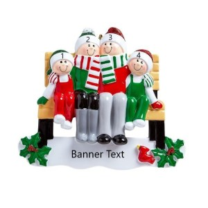 Park Bench Family 4 Personalised Christmas Ornament